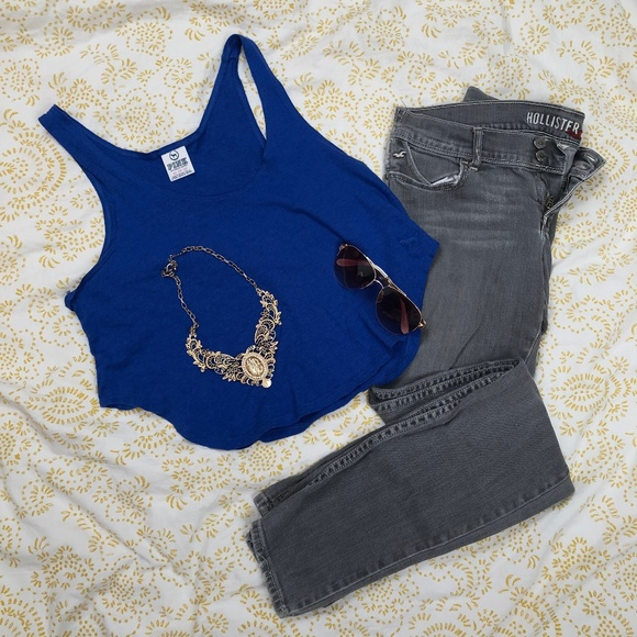 PINK Victoria's Secret Tops - Blue PINK cropped tank top from Victoria Secret